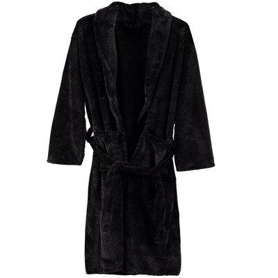 Grindle Shawl Collar Unisex Flannel Bathrobe Color: Black, Size: Large/Extra Large