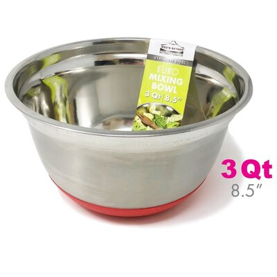 Stainless Steel Euro Style 3 qt. Mixing Bowl