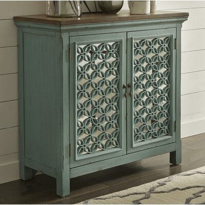 Continuum 2 Door Accent Cabinet Color: Brown/Turquoise