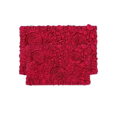 Loganne 2 Piece Bath Rug Set Color: Red