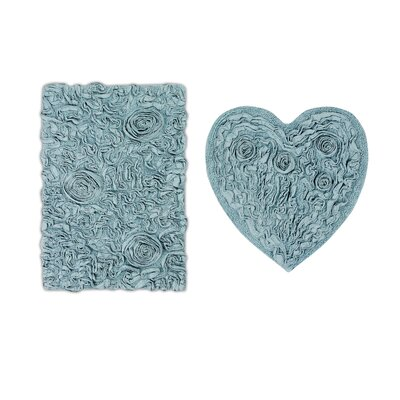 Loganne Heart 2 Piece Bath Rug Set Color: Beige