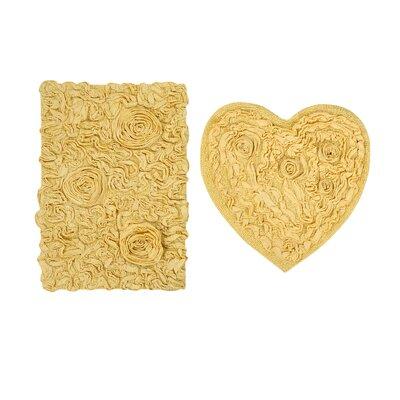 Loganne Heart 2 Piece Bath Rug Set Color: Butter