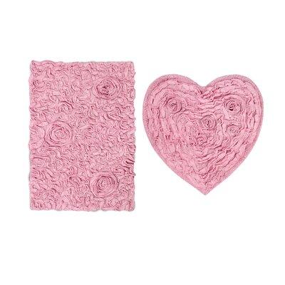 Loganne Heart 2 Piece Bath Rug Set Color: Pink