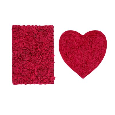 Loganne Heart 2 Piece Bath Rug Set Color: Red