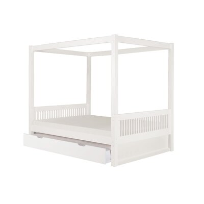 Morningside Drive Full Canopy Bed with Trundle Bed Frame Color: White