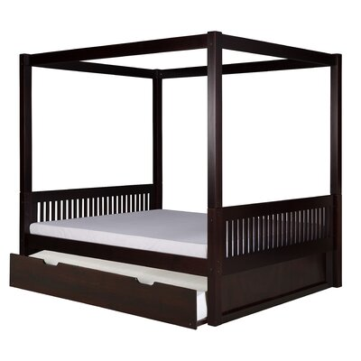 Morningside Drive Full Canopy Bed with Trundle Bed Frame Color: Cappuccino