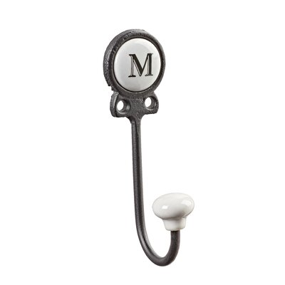 Zircon Classy Lettered Coat for Personalized Storage Wall Hook Letter: M