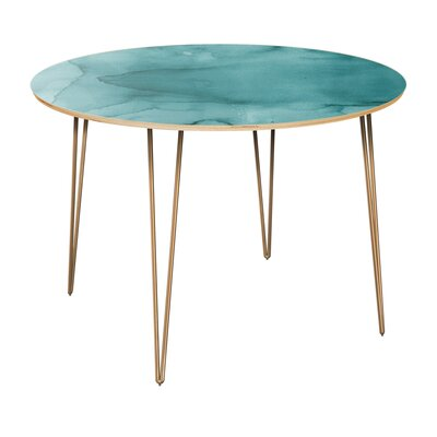 Canis Dining Table Table Top Color: Natural, Table Base Color: Brass