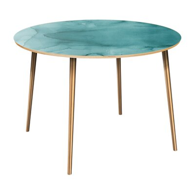 Canizales Dining Table Table Top Color: Natural, Table Base Color: Brass