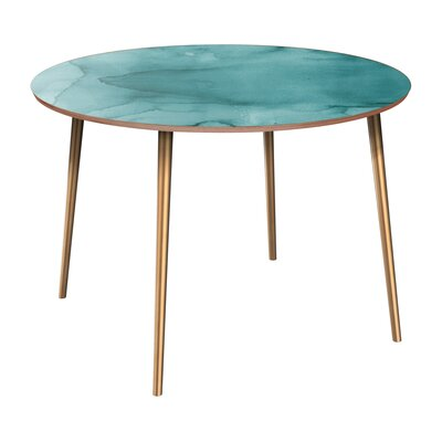 Canizales Dining Table Table Base Color: Brass, Table Top Color: Walnut