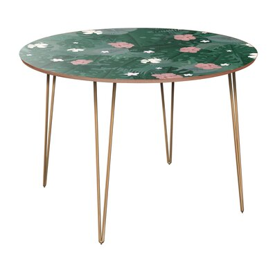 Cleland Dining Table Table Base Color: Brass, Table Top Color: Walnut