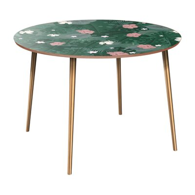 Cleland Heights Dining Table Table Base Color: Brass, Table Top Color: Walnut