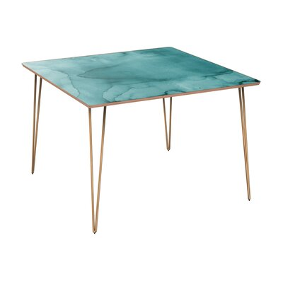 Cansler Dining Table Table Base Color: Brass, Table Top Color: Walnut