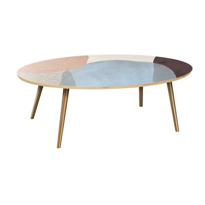Ethen Coffee Table Table Top Color: Natural, Table Base Color: Brass