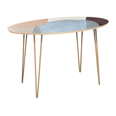 Penton Dining Table Table Top Color: Natural, Table Base Color: Brass