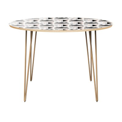 Clayborn Dining Table Table Top Color: Natural, Table Base Color: Brass