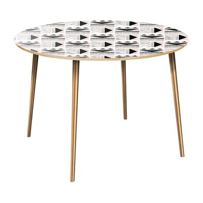 Claypoole Dining Table Table Top Color: Natural, Table Base Color: Brass