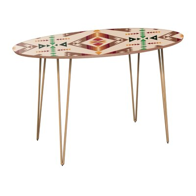 Rehberg Dining Table Table Base Color: Brass, Table Top Color: Walnut