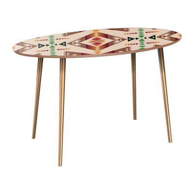 Reiber Dining Table Table Base Color: Brass, Table Top Color: Walnut