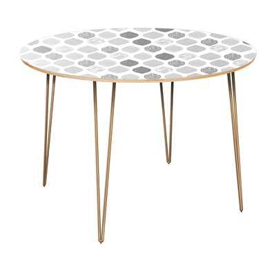 Canas Dining Table Table Top Color: Natural, Table Base Color: Brass