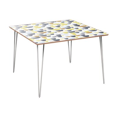 Cantin Dining Table Table Base Color: Chrome, Table Top Color: Walnut