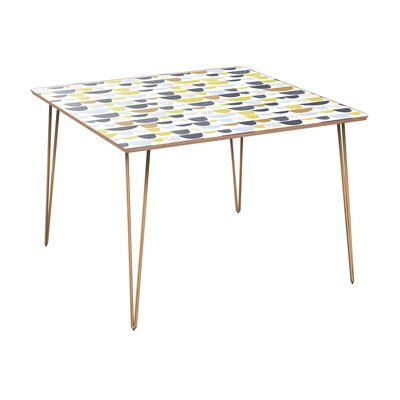 Cantin Dining Table Table Base Color: Brass, Table Top Color: Walnut