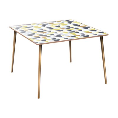 Canup Dining Table Table Base Color: Brass, Table Top Color: Walnut