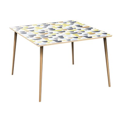 Canup Dining Table Table Top Color: Natural, Table Base Color: Brass