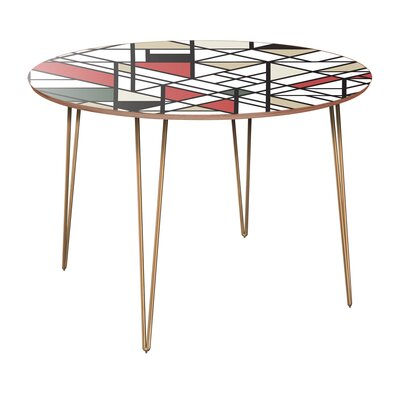 Cancri Dining Table Table Base Color: Brass, Table Top Color: Walnut