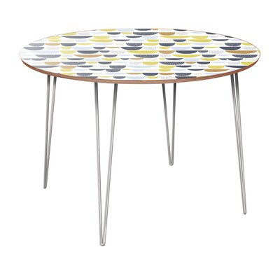 Clauson Dining Table Table Base Color: Chrome, Table Top Color: Walnut