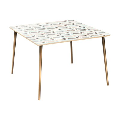 Cleopatra Dining Table Table Top Color: Natural, Table Base Color: Brass