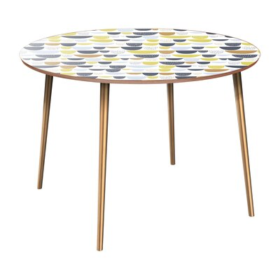 Claverton Down Dining Table Table Base Color: Brass, Table Top Color: Walnut