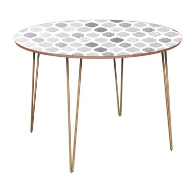 Canas Dining Table Table Base Color: Brass, Table Top Color: Walnut