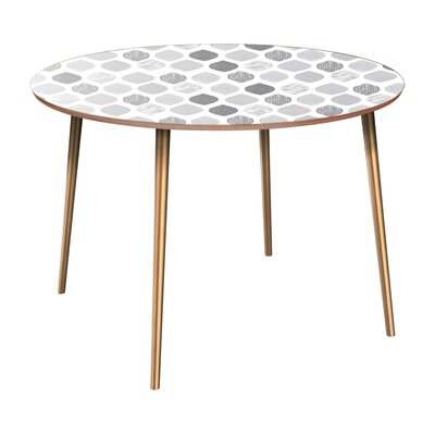 Canavan Dining Table Table Base Color: Brass, Table Top Color: Walnut