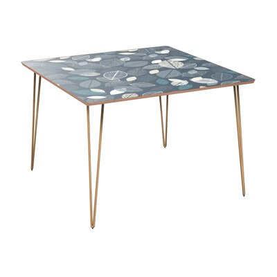 Clematis Dining Table Table Top Color: Walnut, Table Base Color: Brass