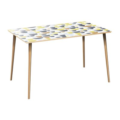 Coover Dining Table Table Top Color: Natural, Table Base Color: Brass