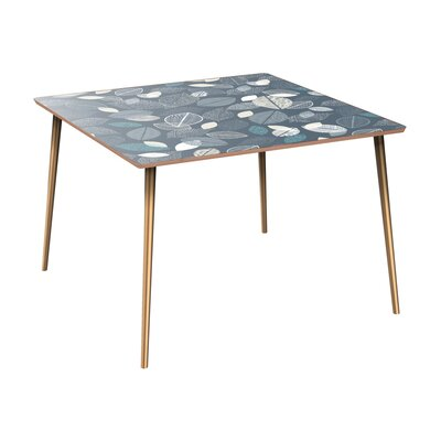 Clemmer Dining Table Table Base Color: Brass, Table Top Color: Walnut