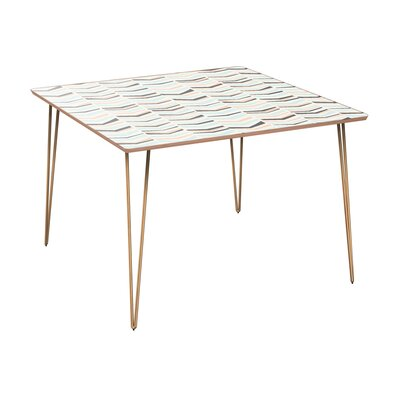 Clemmons Dining Table Table Base Color: Brass, Table Top Color: Walnut