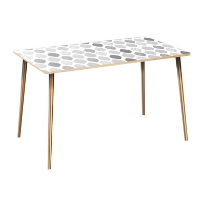 Copher Dining Table Table Top Color: Natural, Table Base Color: Brass