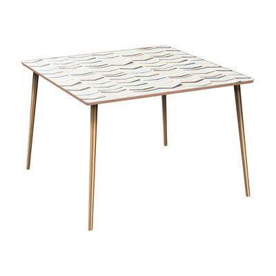 Cleopatra Dining Table Table Base Color: Brass, Table Top Color: Walnut