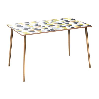 Coover Dining Table Table Base Color: Brass, Table Top Color: Walnut