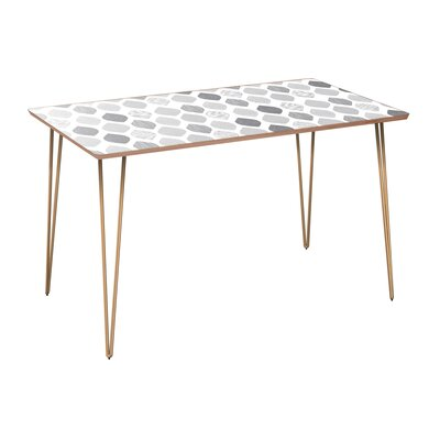 Copas Dining Table Table Base Color: Brass, Table Top Color: Walnut