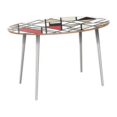 Clever Dining Table Table Base Color: Chrome, Table Top Color: Walnut