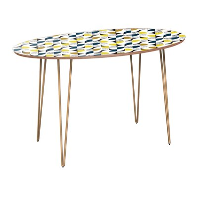 Cliffside Dining Table Table Base Color: Brass, Table Top Color: Walnut