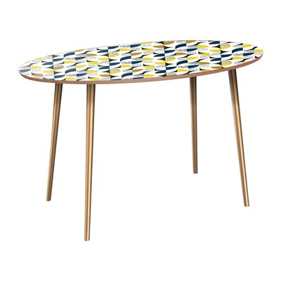 Copland Dining Table Table Base Color: Brass, Table Top Color: Walnut