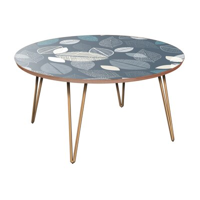 Jerad Coffee Table Table Base Color: Brass, Table Top Color: Walnut