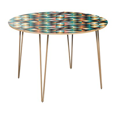 Regil Dining Table Table Top Color: Natural, Table Base Color: Brass