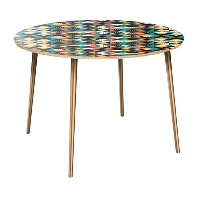 Rego Dining Table Table Top Color: Natural, Table Base Color: Brass