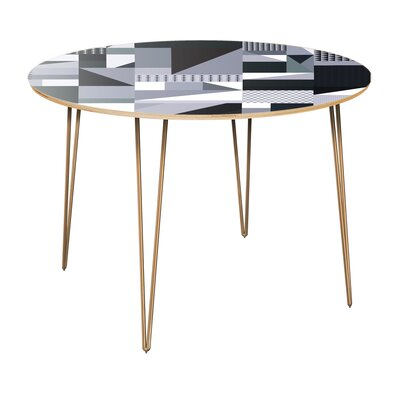 Copple Dining Table Table Top Color: Natural, Table Base Color: Brass