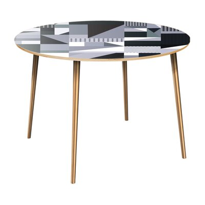 Coppock Dining Table Table Top Color: Natural, Table Base Color: Brass